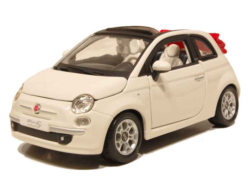 fiat 500 cabriolet 2009 burago 1 24 autos miniatures tacot. Black Bedroom Furniture Sets. Home Design Ideas