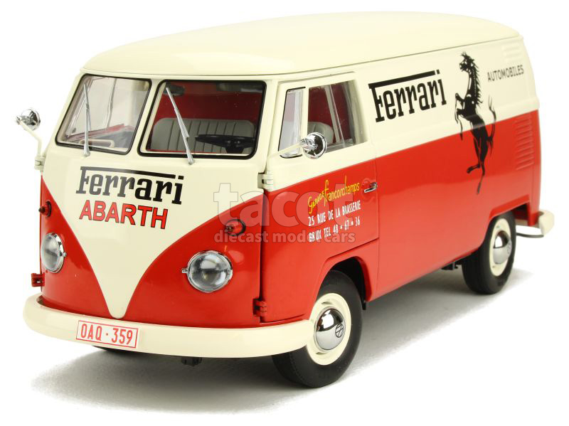 schuco volkswagen combi t1 transporter ferrari 1 18 ebay. Black Bedroom Furniture Sets. Home Design Ideas