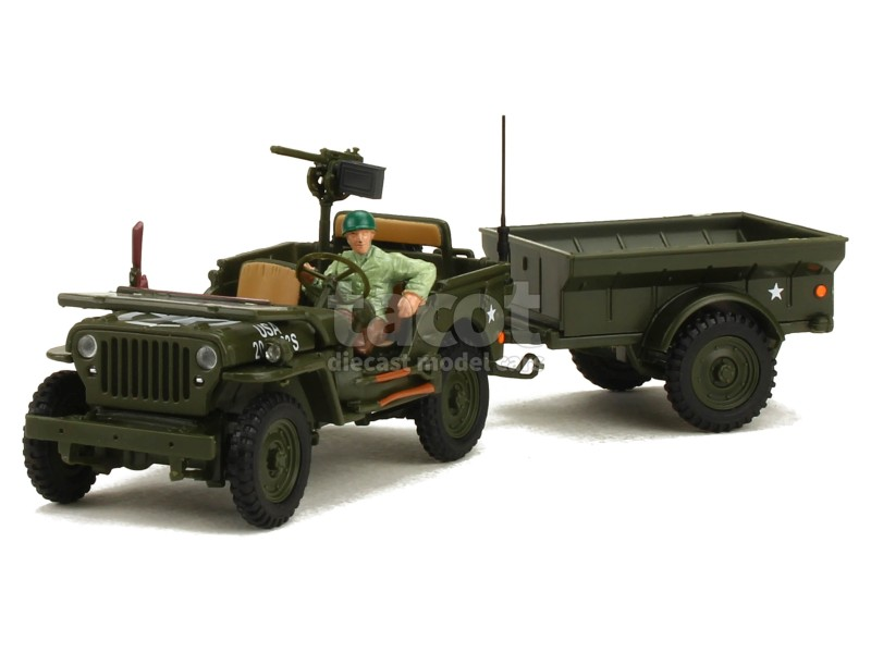 cararama willys jeep remorque militaire 1 43 ebay. Black Bedroom Furniture Sets. Home Design Ideas